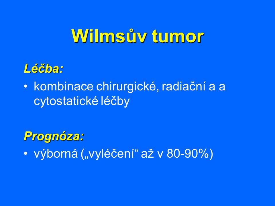 Wilmsův tumor Léčba: kombinace chirurgické, radiační a a cytostatické léčby.