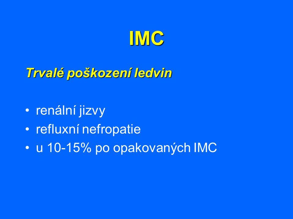IMC Trvalé poškození ledvin renální jizvy refluxní nefropatie