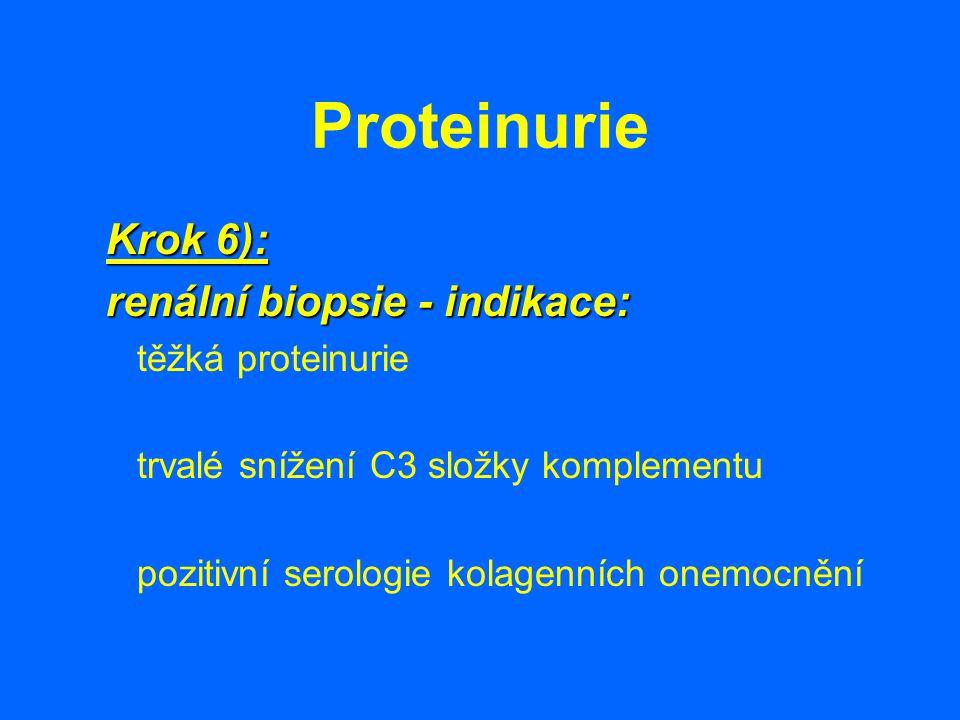 Proteinurie Krok 6): renální biopsie - indikace: těžká proteinurie