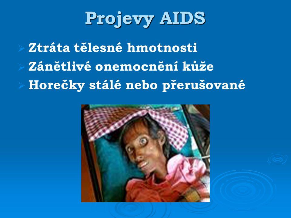 Projevy AIDS Ztráta tělesné hmotnosti Zánětlivé onemocnění kůže
