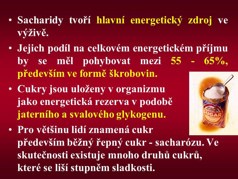Sacharidy tvoří hlavní energetický zdroj ve výživě.