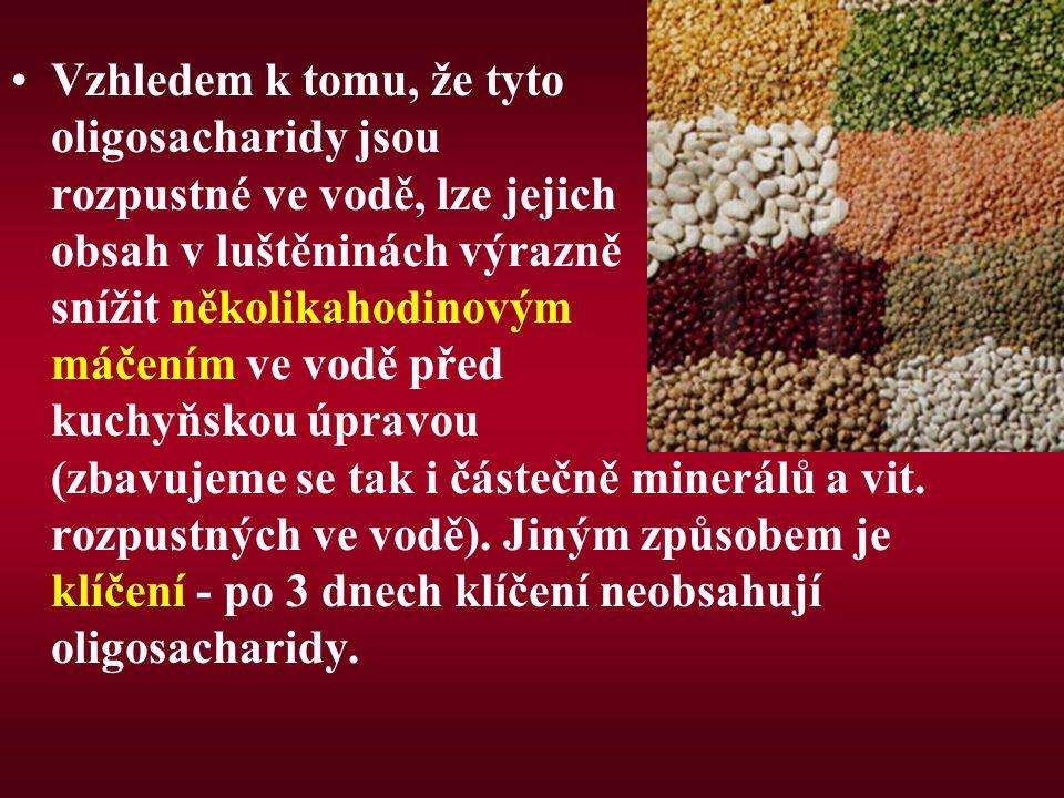 Vzhledem k tomu, že tyto oligosacharidy jsou rozpustné ve vodě, lze jejich obsah v luštěninách výrazně snížit několikahodinovým máčením ve vodě před kuchyňskou úpravou (zbavujeme se tak i částečně minerálů a vit.