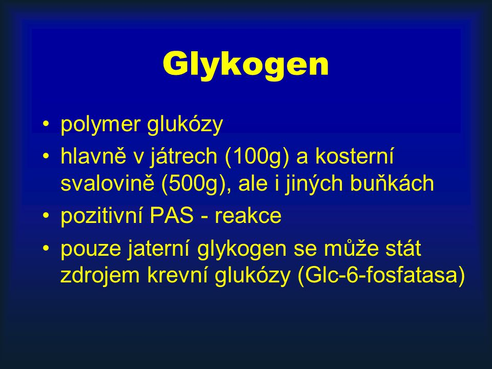 Glykogen polymer glukózy