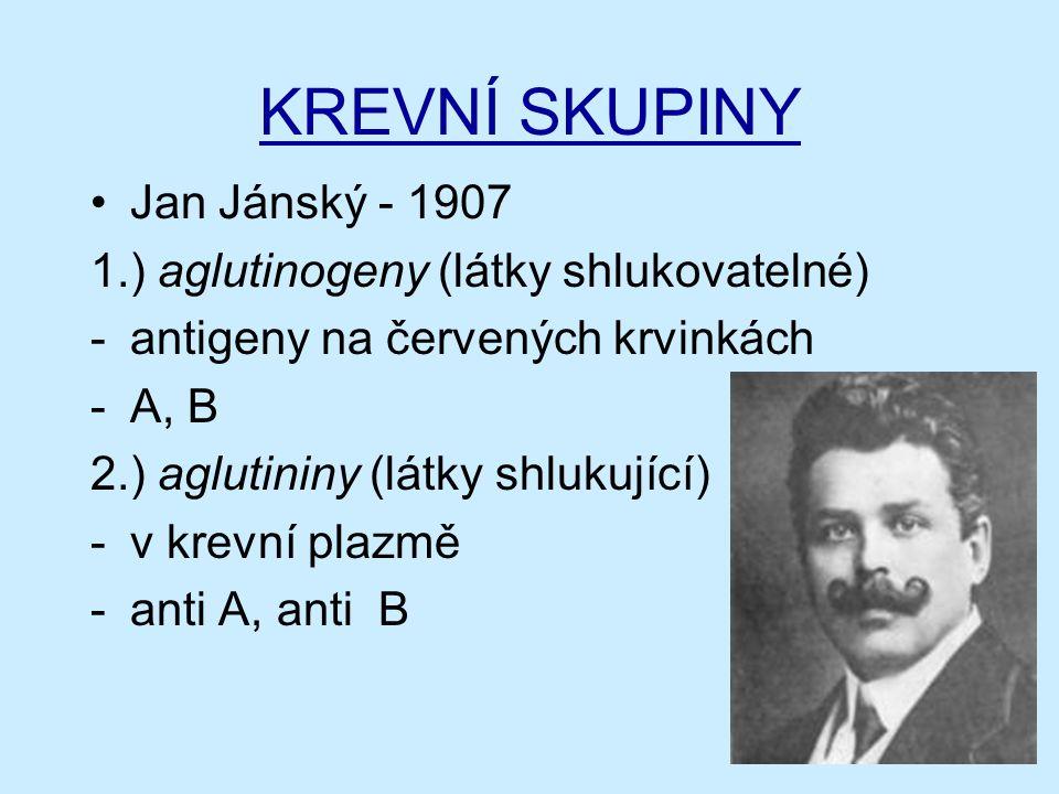 KREVNÍ SKUPINY Jan Jánský - 1907