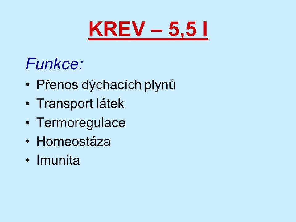 KREV – 5,5 l Funkce: Přenos dýchacích plynů Transport látek