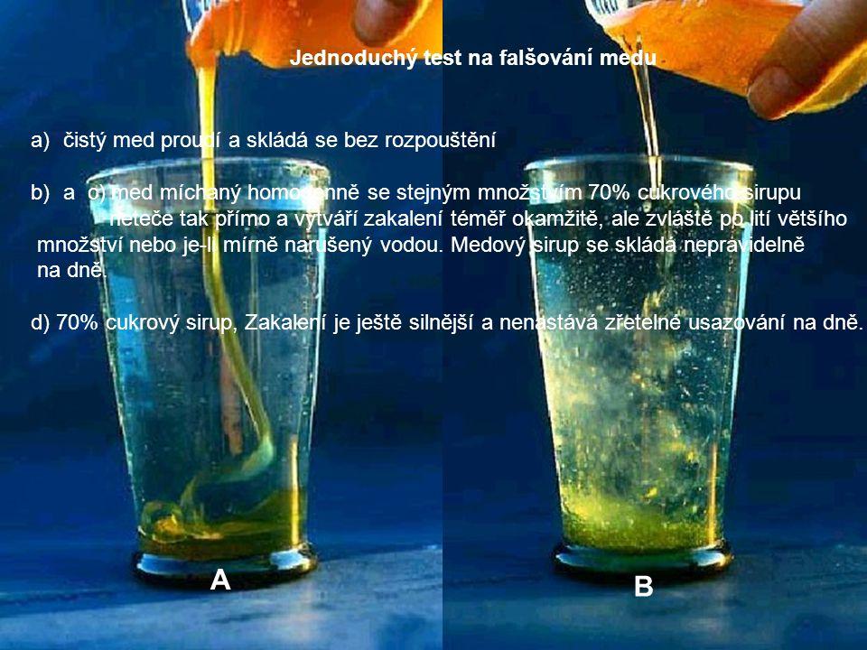 A B Jednoduchý test na falšování medu