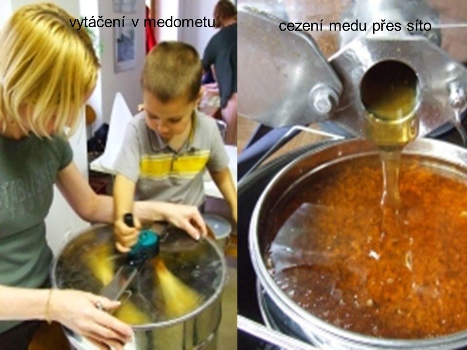 vytáčení v medometu cezení medu přes síto