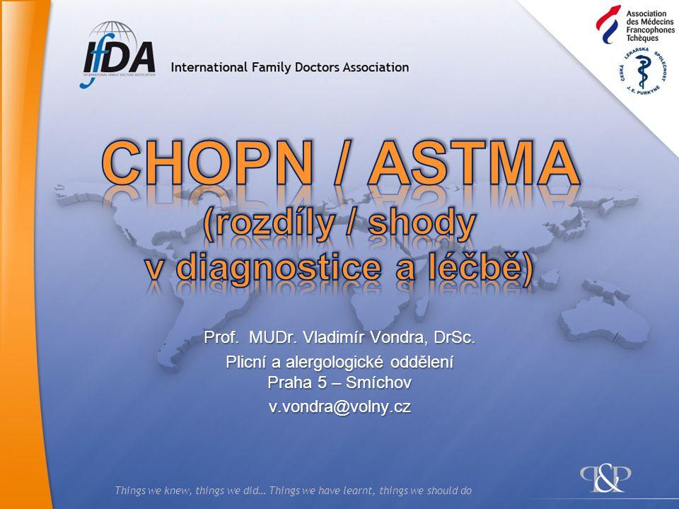 CHOPN / ASTMA (rozdíly / shody v diagnostice a léčbě)