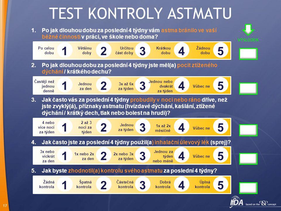 TEST KONTROLY ASTMATU Po jak dlouhou dobu za poslední 4 týdny vám astma bránilo ve vaší běžné činnosti v práci, ve škole nebo doma