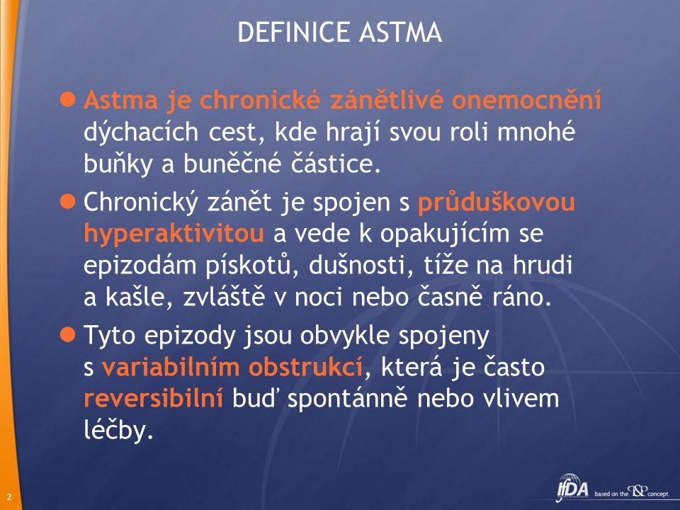DEFINICE ASTMA Astma je chronické zánětlivé onemocnění dýchacích cest, kde hrají svou roli mnohé buňky a buněčné částice.