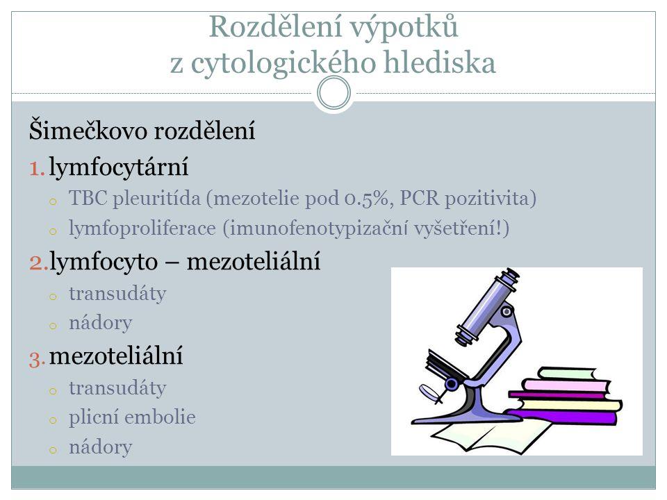 Rozdělení výpotků z cytologického hlediska