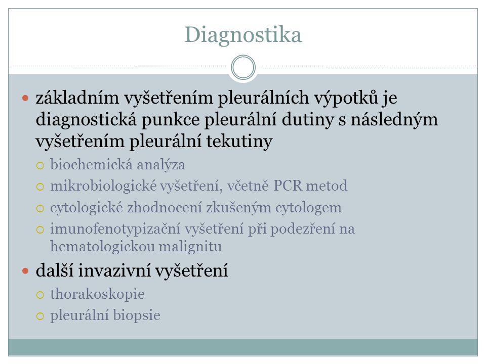 Diagnostika základním vyšetřením pleurálních výpotků je diagnostická punkce pleurální dutiny s následným vyšetřením pleurální tekutiny.