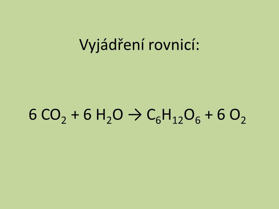 Vyjádření rovnicí: 6 CO2 + 6 H2O → C6H12O6 + 6 O2