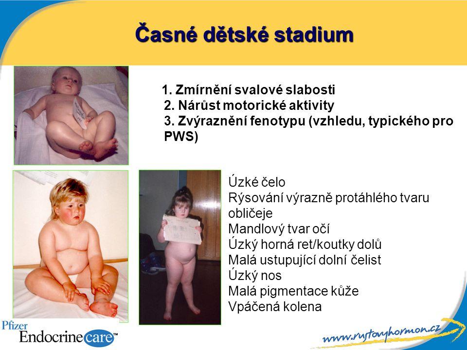 Časné dětské stadium 1. Zmírnění svalové slabosti 2. Nárůst motorické aktivity 3. Zvýraznění fenotypu (vzhledu, typického pro PWS)