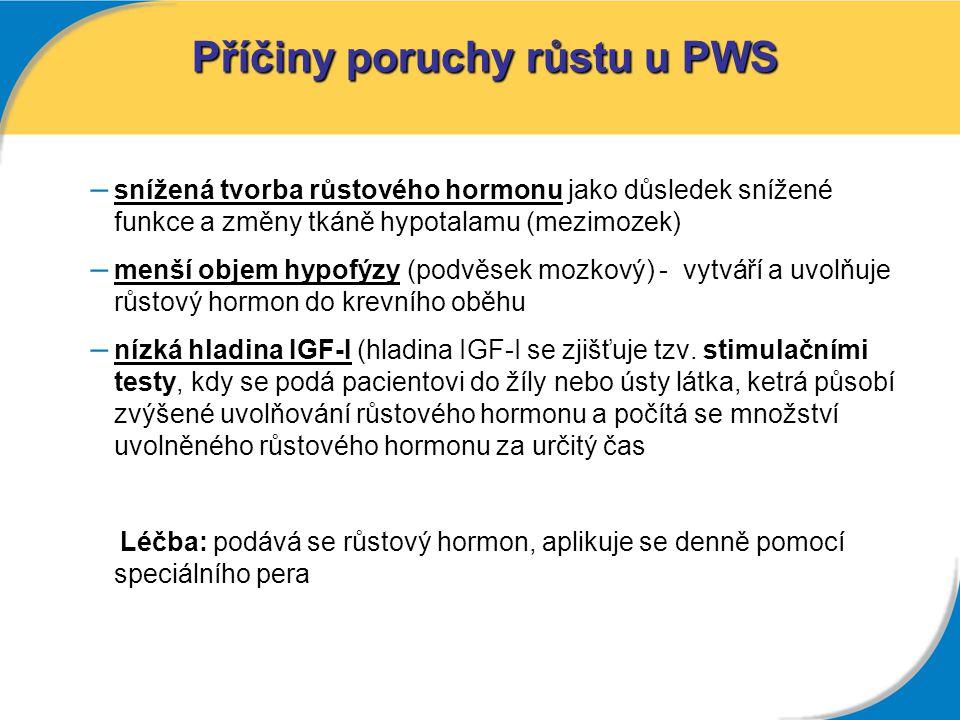 Příčiny poruchy růstu u PWS