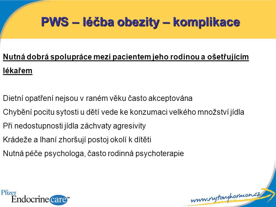PWS – léčba obezity – komplikace