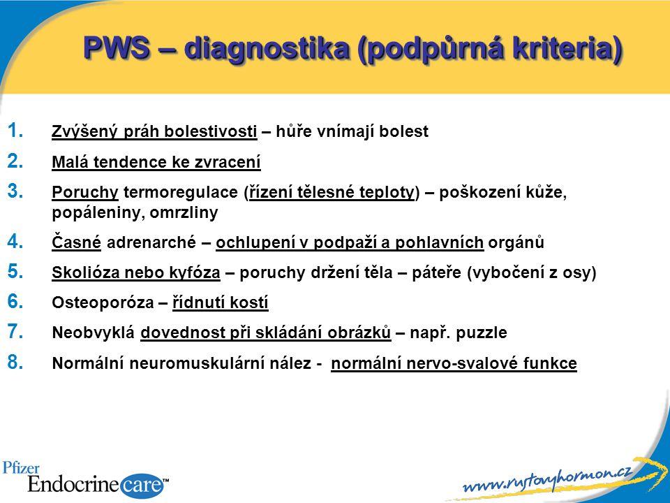 PWS – diagnostika (podpůrná kriteria)