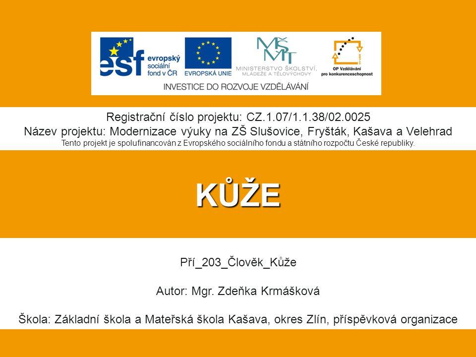 KŮŽE Registrační číslo projektu: CZ.1.07/1.1.38/02.0025