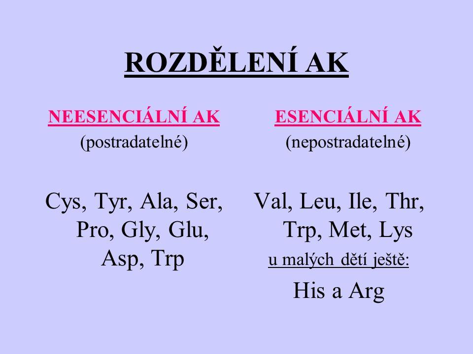 ROZDĚLENÍ AK Cys, Tyr, Ala, Ser, Pro, Gly, Glu, Asp, Trp