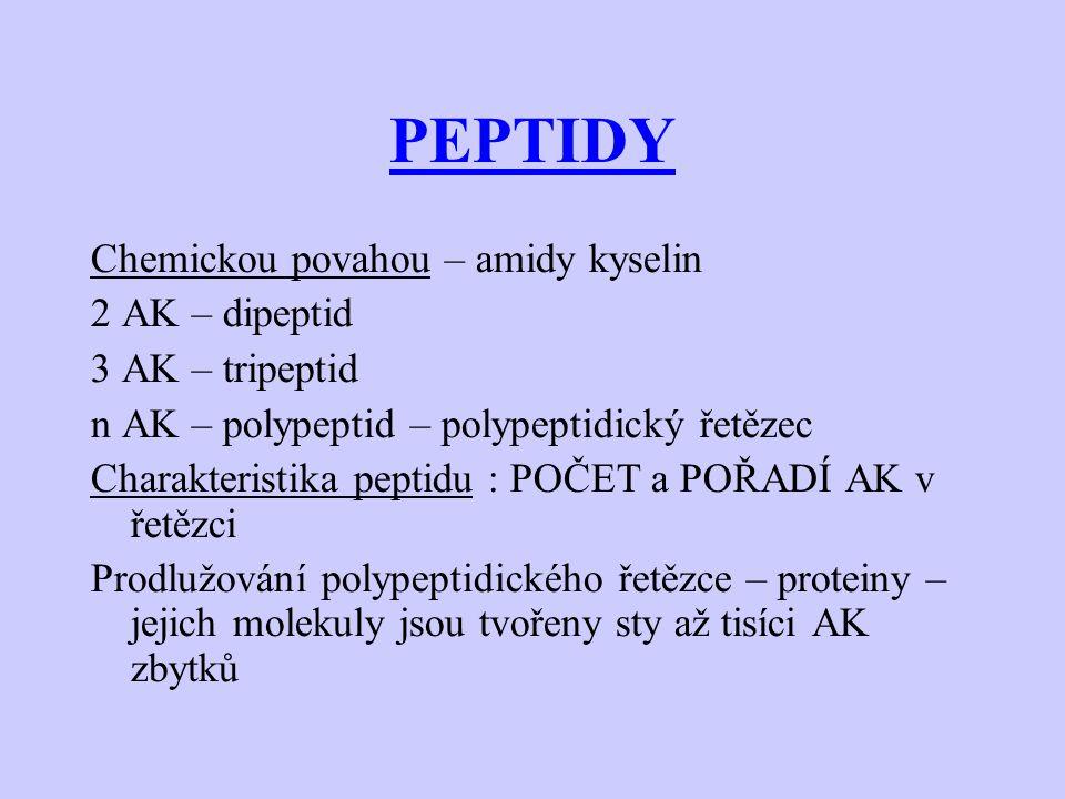 PEPTIDY Chemickou povahou – amidy kyselin 2 AK – dipeptid