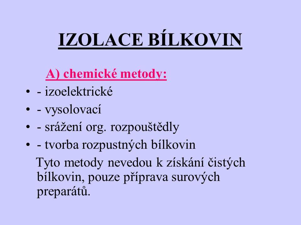 IZOLACE BÍLKOVIN A) chemické metody: - izoelektrické - vysolovací