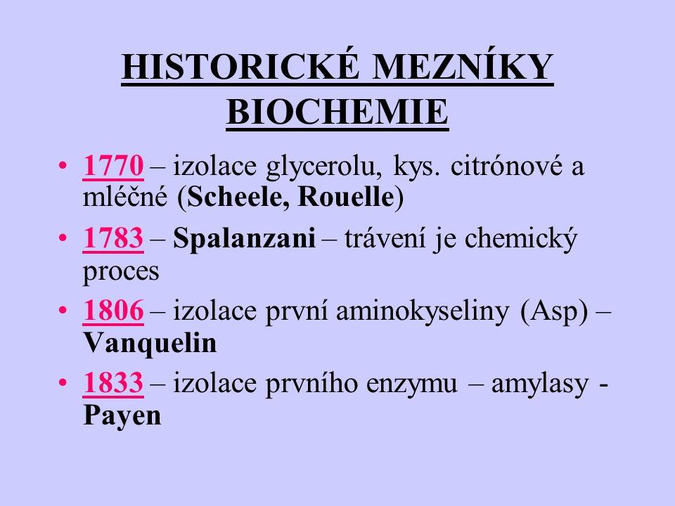 HISTORICKÉ MEZNÍKY BIOCHEMIE