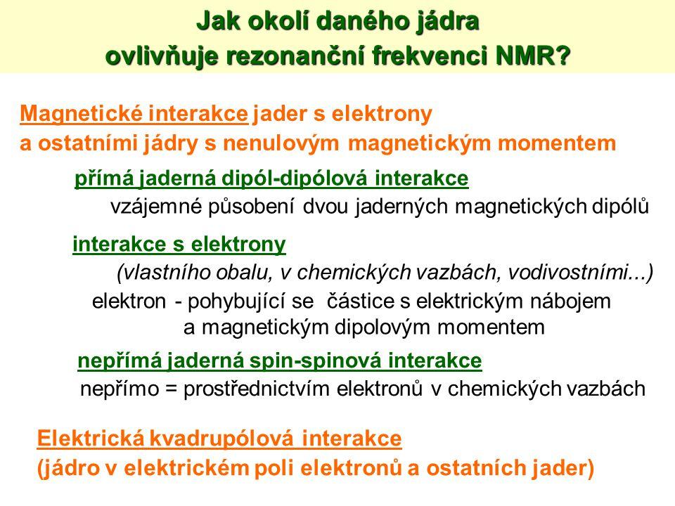 ovlivňuje rezonanční frekvenci NMR