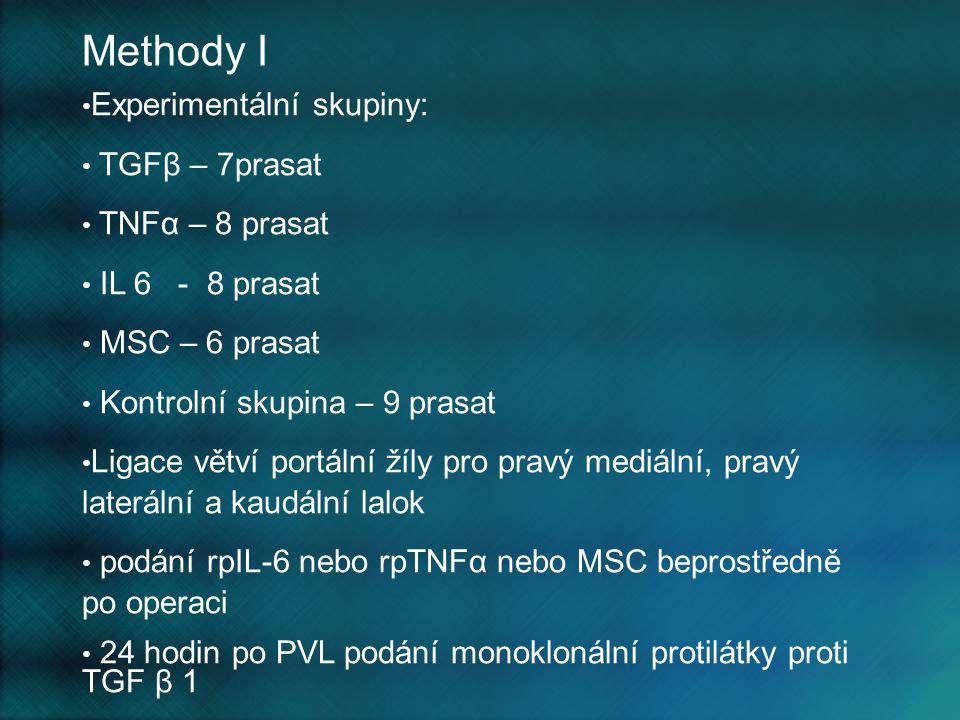 Methody I Experimentální skupiny: TGFβ – 7prasat TNFα – 8 prasat