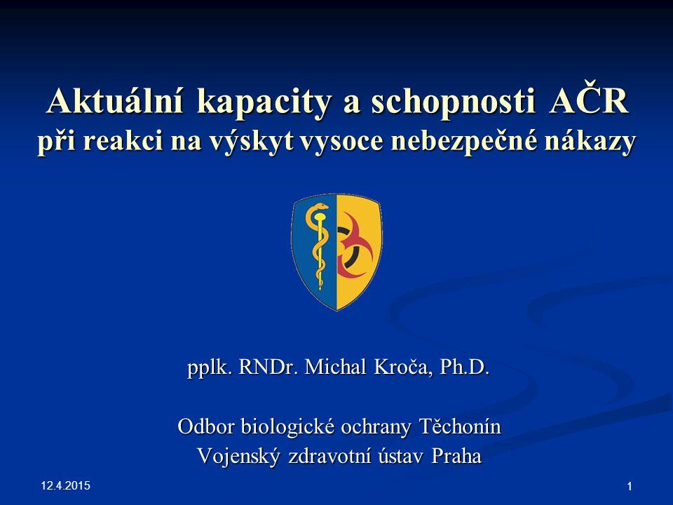 Aktuální kapacity a schopnosti AČR při reakci na výskyt vysoce nebezpečné nákazy
