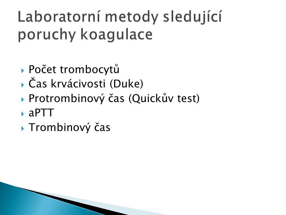 Laboratorní metody sledující poruchy koagulace