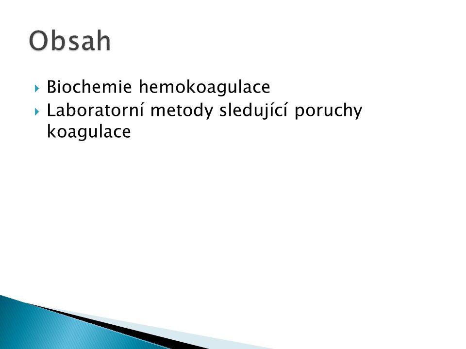 Obsah Biochemie hemokoagulace