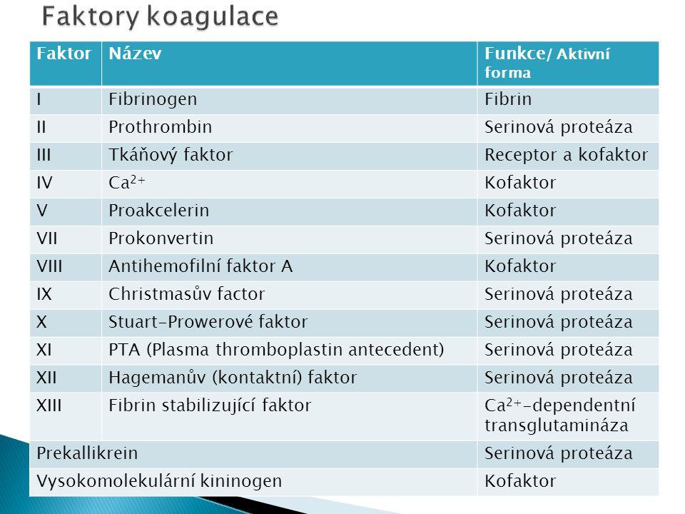 Faktory koagulace Faktor Název Funkce/ Aktivní forma I Fibrinogen