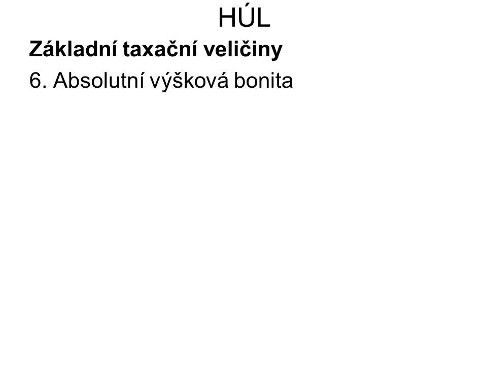 HÚL Základní taxační veličiny 6. Absolutní výšková bonita