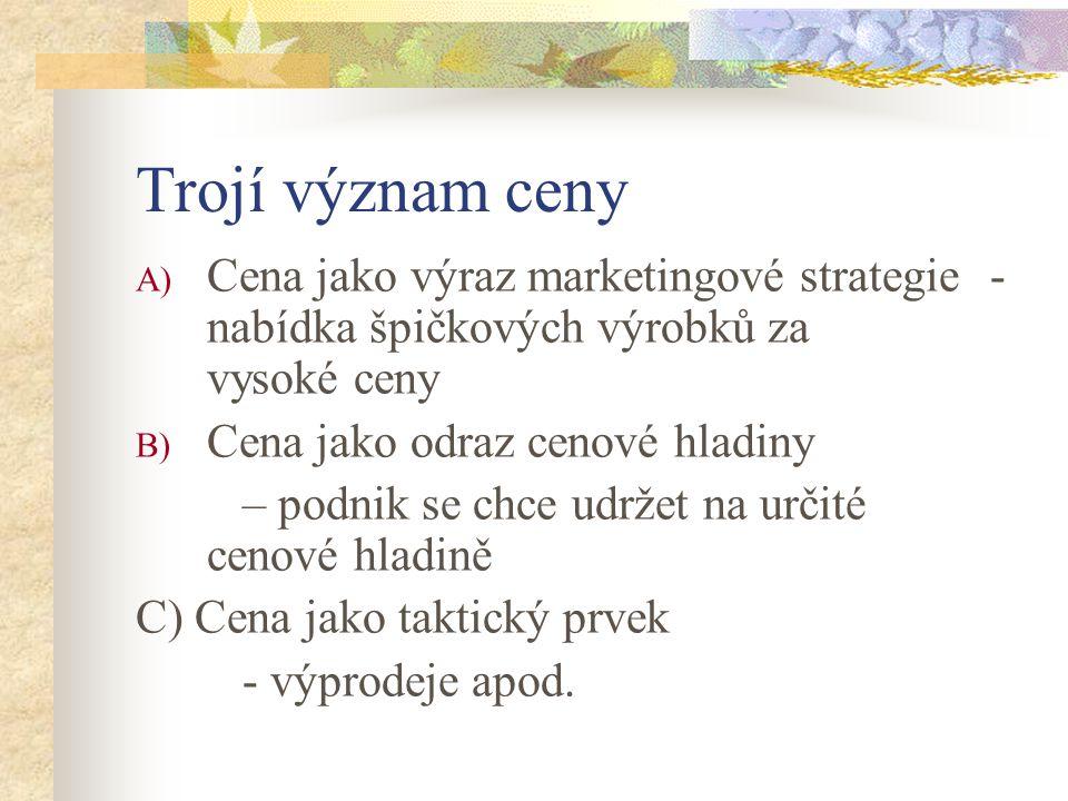Trojí význam ceny Cena jako výraz marketingové strategie - nabídka špičkových výrobků za vysoké ceny.