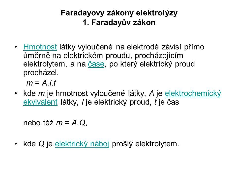 Faradayovy zákony elektrolýzy 1. Faradayův zákon