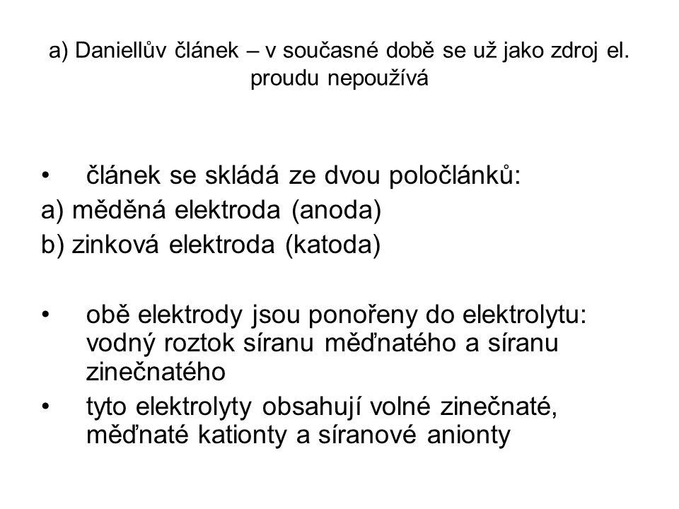 článek se skládá ze dvou poločlánků: a) měděná elektroda (anoda)