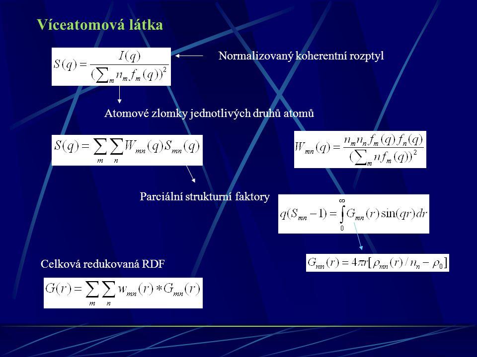 Víceatomová látka Normalizovaný koherentní rozptyl