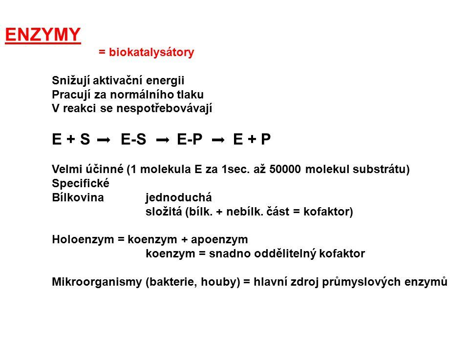 ENZYMY = biokatalysátory Snižují aktivační energii