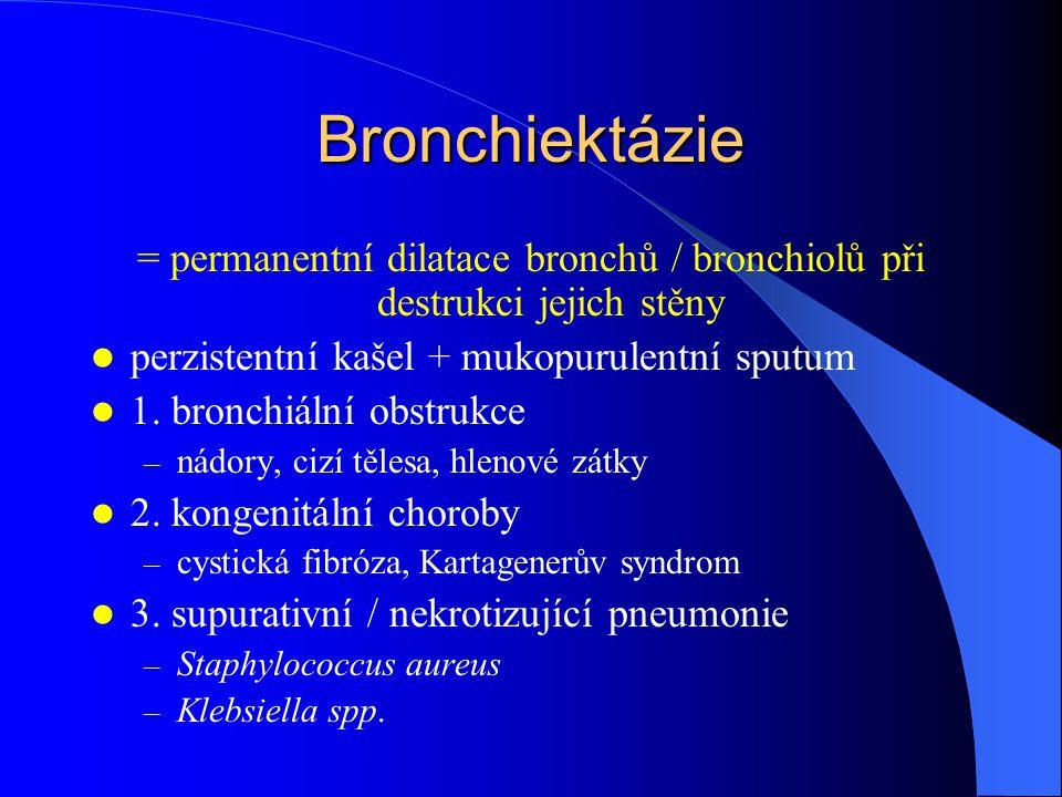 = permanentní dilatace bronchů / bronchiolů při destrukci jejich stěny