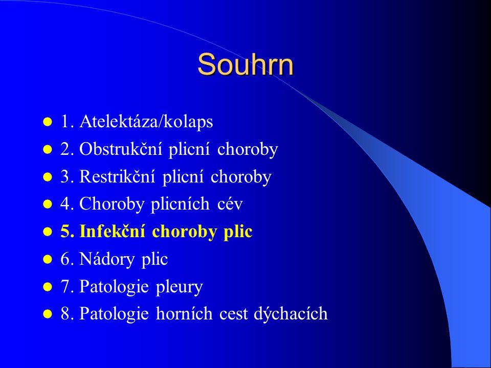 Souhrn 1. Atelektáza/kolaps 2. Obstrukční plicní choroby
