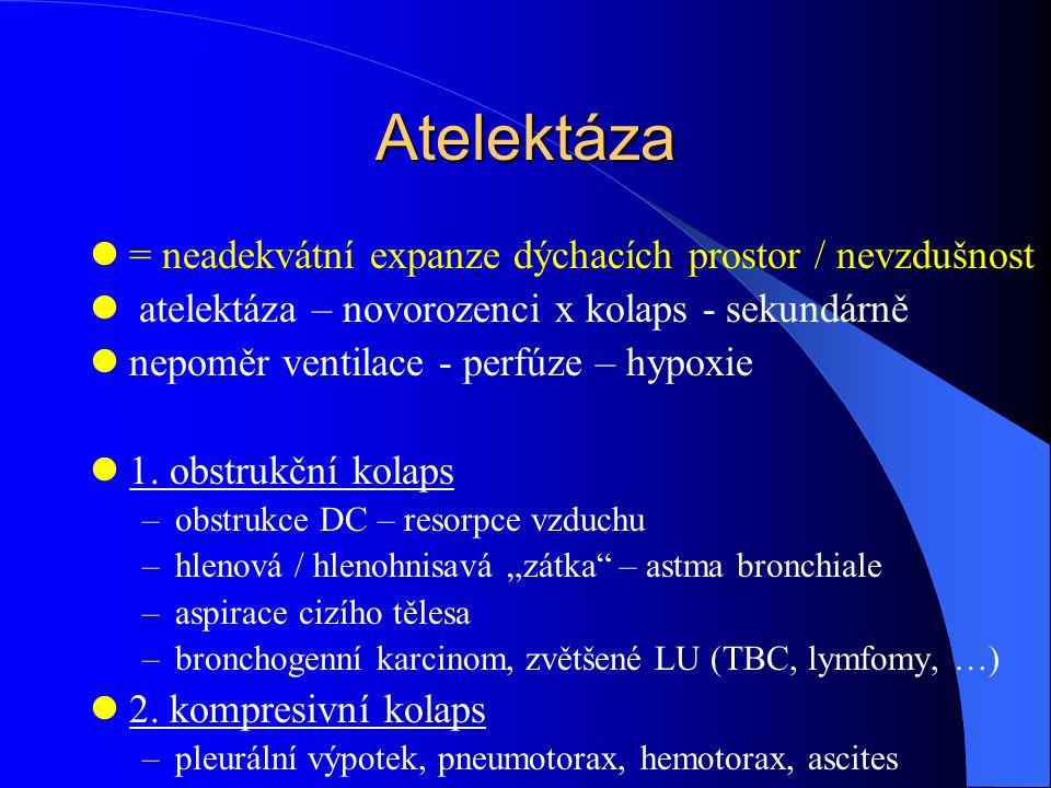 Atelektáza = neadekvátní expanze dýchacích prostor / nevzdušnost