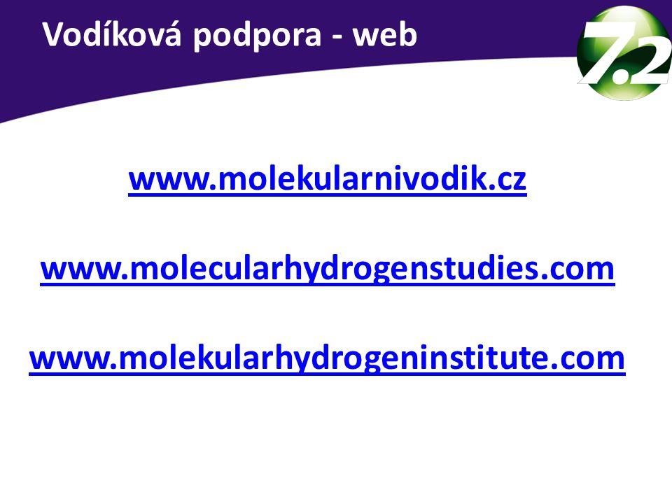 Vodíková podpora - web www.molekularnivodik.cz. www.molecularhydrogenstudies.com.