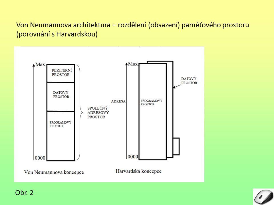Von Neumannova architektura – rozdělení (obsazení) paměťového prostoru