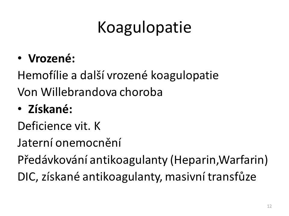 Koagulopatie Vrozené: Hemofílie a další vrozené koagulopatie