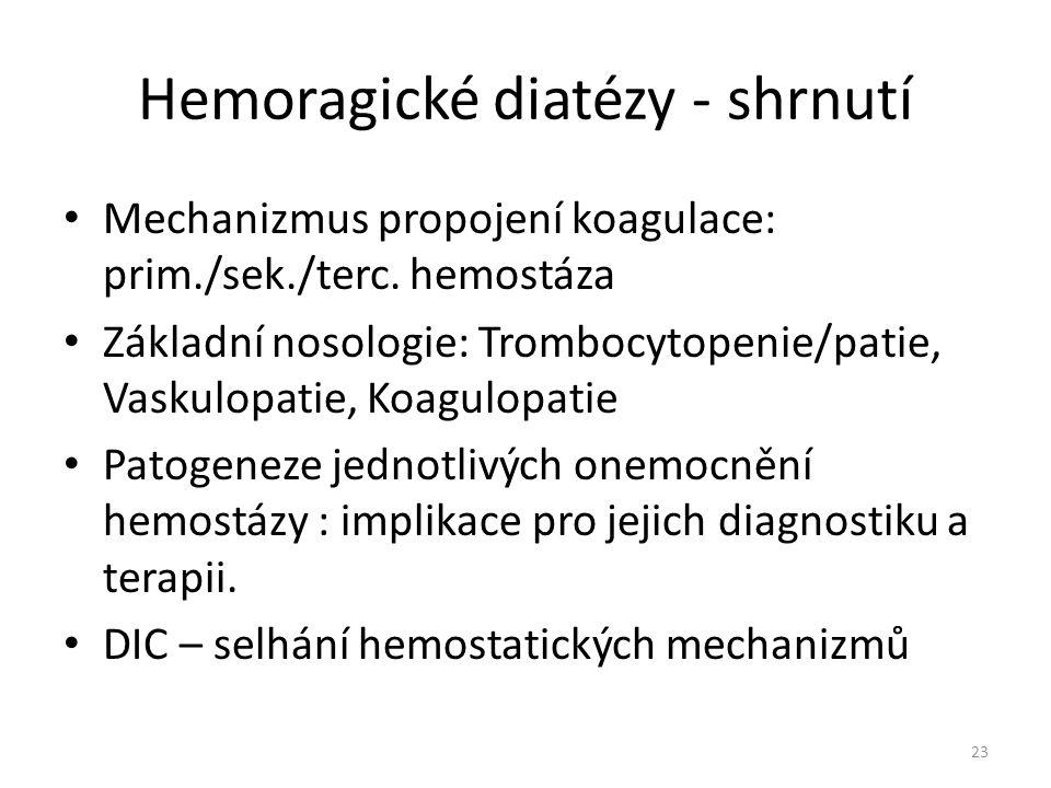 Hemoragické diatézy - shrnutí