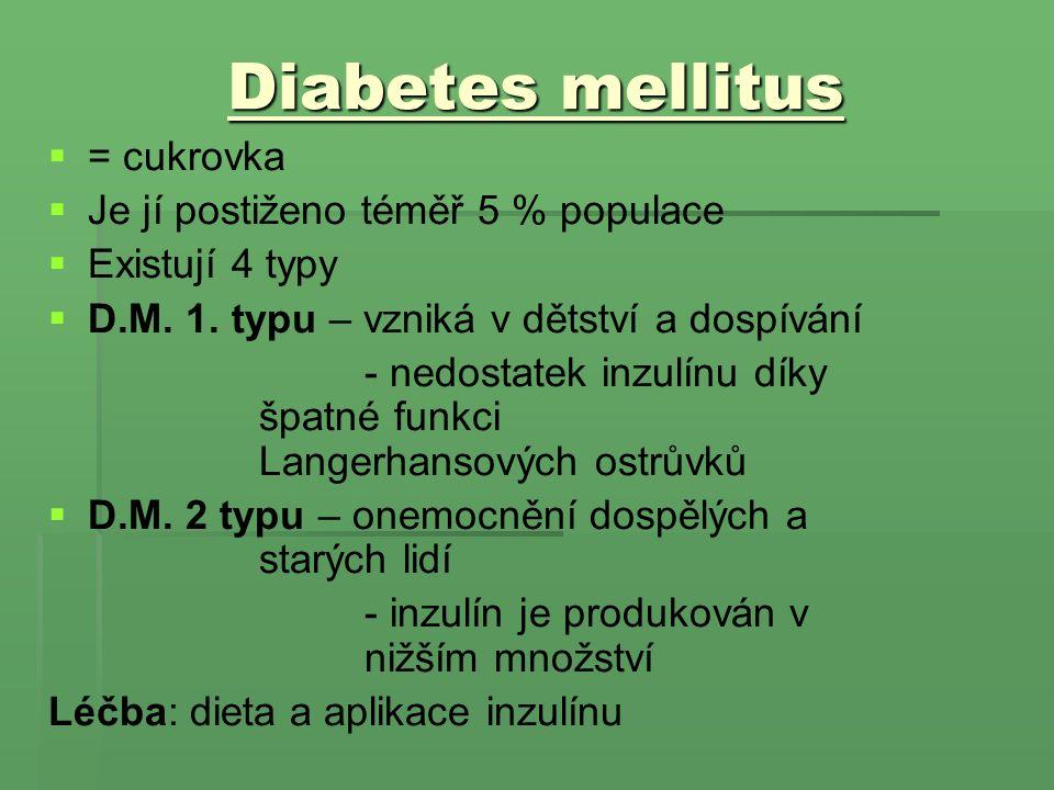 Diabetes mellitus = cukrovka Je jí postiženo téměř 5 % populace