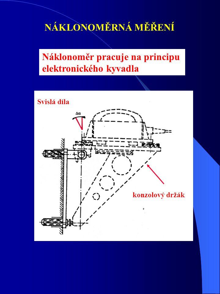 Náklonoměr pracuje na principu elektronického kyvadla