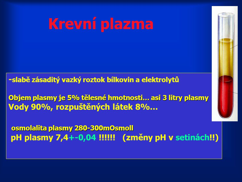 Krevní plazma osmolalita plasmy 280-300mOsmoll