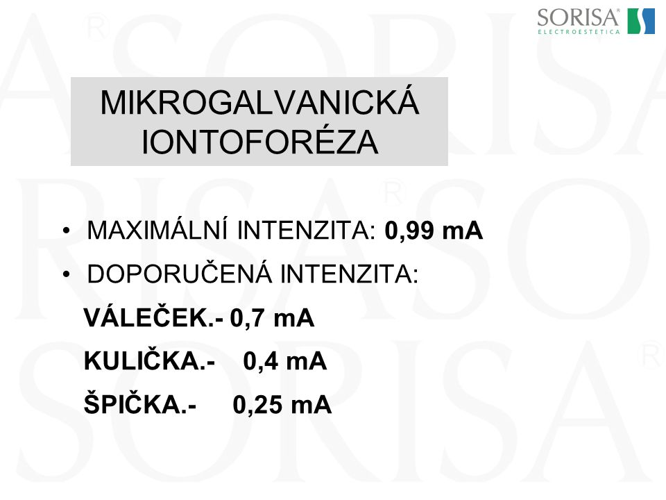 MIKROGALVANICKÁ IONTOFORÉZA