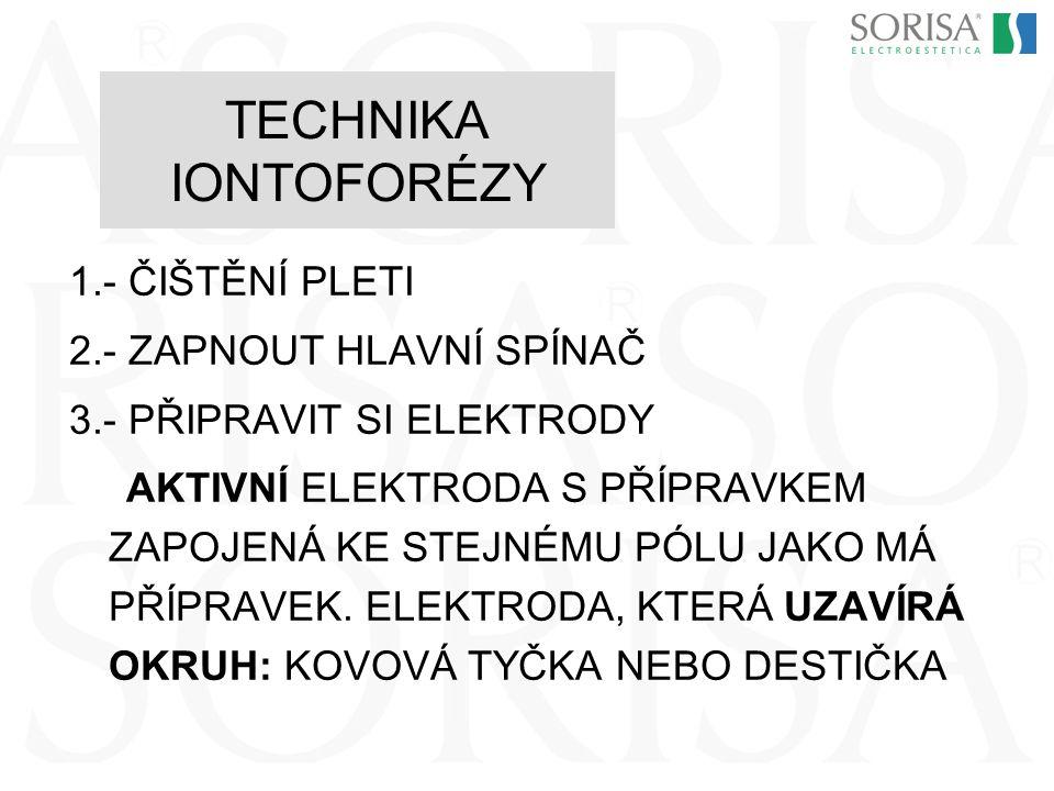 TECHNIKA IONTOFORÉZY 1.- ČIŠTĚNÍ PLETI 2.- ZAPNOUT HLAVNÍ SPÍNAČ
